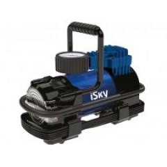 Компрессор автомобильный металлический iSky, 35 л/мин, c LED фонарем