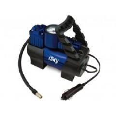 Компрессор автомобильный металлический iSky, 35 лмин, с доп. клапаном